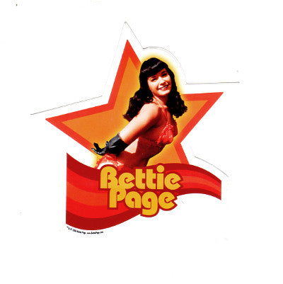 Bettie Page Red Star Bikini Die Cut Sticker
