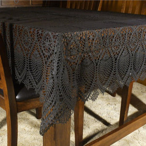 Black Vinyl Lace Table Cloth -- Tablecloth