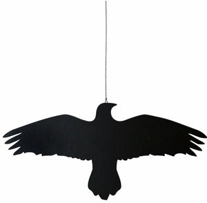 Wood Raven Bird on a Wire Hanger -- Black