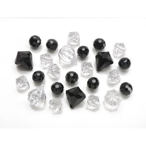 20 Black + Clear Large Acrylic Loose Beads