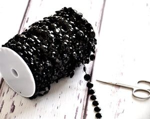 Black Beads on Spool -- Small Diamond Cut