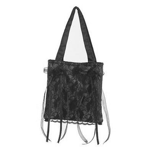 Demonia Gothic Black  Lace and Satin Purse Bag
