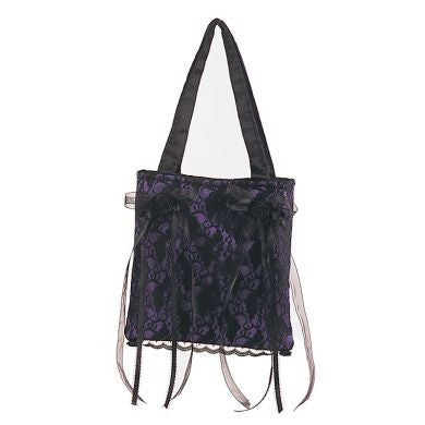 Demonia Gothic Purple with Black Lace and Satin Bag Purse