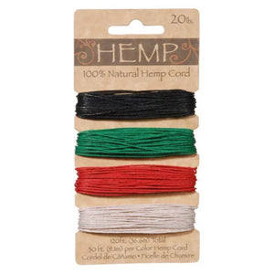 Hemp Cord in 4 Primary Colors of Emerald Green, Black, Red and White