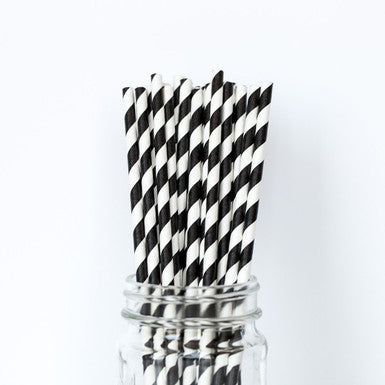 Black & White Stripes Drinking Party Straws -- Set of 25