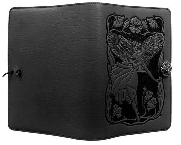 Small Black Fairy Leather Journal Cover by Oberon Design