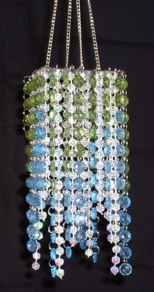 Hand Beaded Chandelier -- Lime Green & Blue -- 20 Inches Long