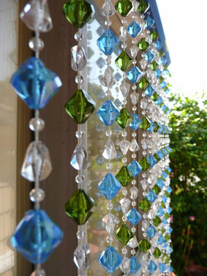 6' Blue & Green Gemstone Shape Beaded Curtain