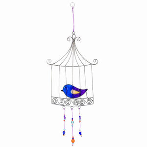 Blue & Purple Love Bird in a Cage Suncatcher