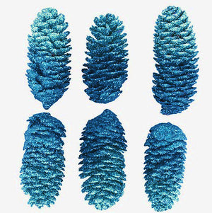 6 Blue Glittered Pine Cones