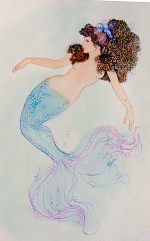 Karen Bagnard Retired Blue Mermaid Greeting Card