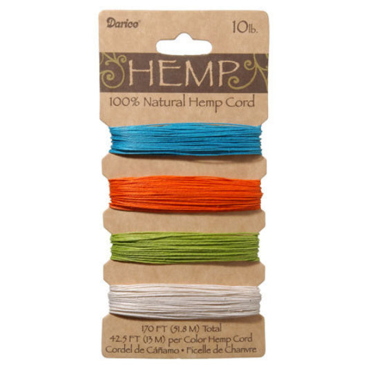 Hemp Cord -- Bright Colors of Blue, Orange, Green and White -- 120 Feet