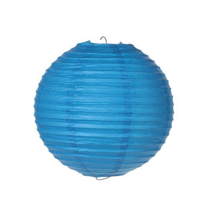 Pack of 10 Blue Round Paper Lanterns, 8 Inches