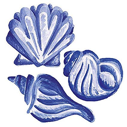 Wallies Blue Sea Shells Wallpaper Cutouts