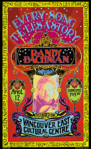 Bob Masse Randy Bachman Unplugged Playbill Art Card