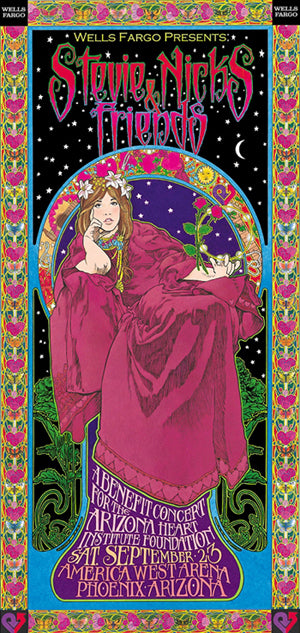 Bob Masse Stevie Nicks and Friends Benefit Concert Playbill Art Card
