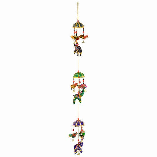Bohemian Decor -- Strand of Elephants Mobile -- Bells -- Birds