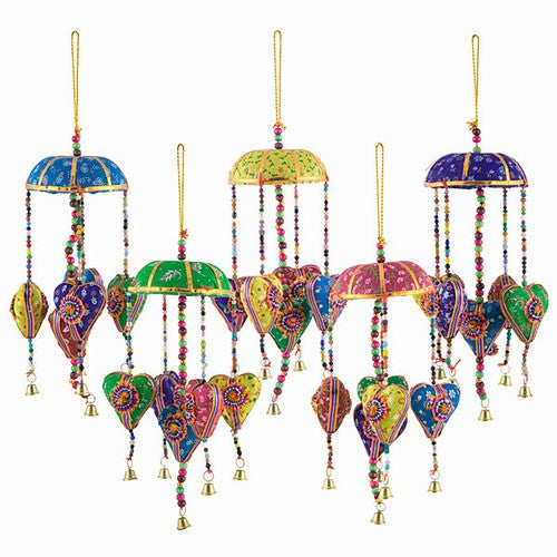 Bohemian Gypsy Fabric Hearts Mobile with Bell