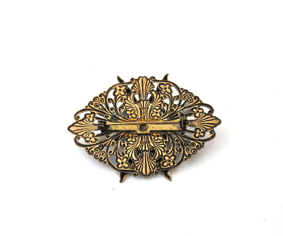Vintage Brass Celestial Sun Filigree Pin