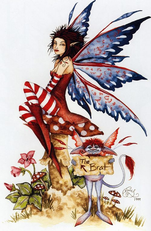 Amy Brown The Brat Fairy Greeting Card