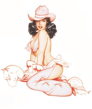 Bettie Page Bronco Buster Card by Olivia De Berardinis