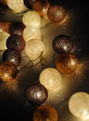 Brown and Tan Cotton String Light Balls