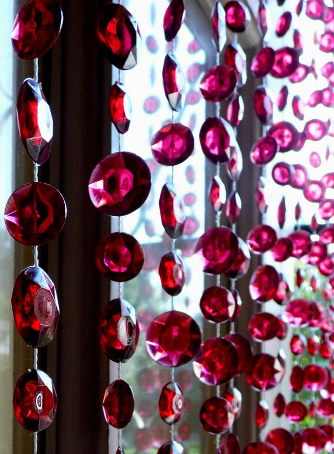 Burgundy Beaded Curtain -- Large Diamond Cut Shapes -- 8 Feet Long