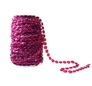 Burgundy Beads on a Spool -- Wedding Beads Roll -- Small Diamond Cut