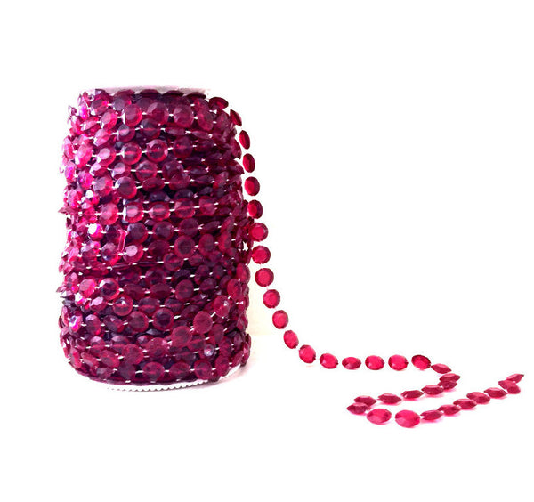 99 Feet of Burgundy Beads on a Spool -- Wedding Beads Roll -- Small Diamond Cut