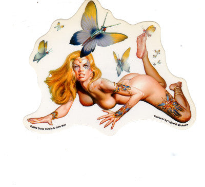 Boris Vallejo + Julie Bell Nude Butterfly Bombshell Woman Sticker Decal