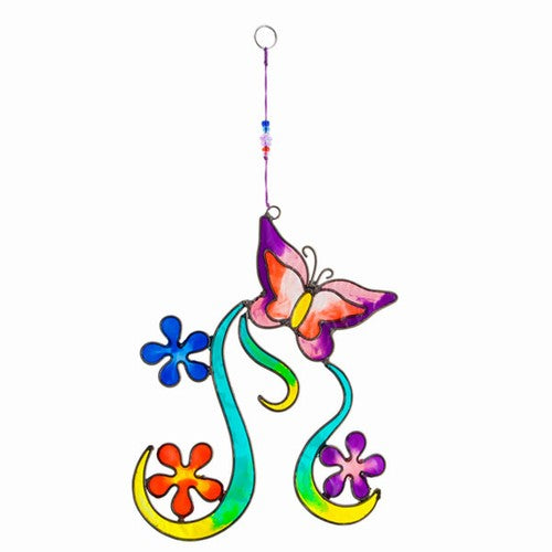 Rainbow Glass Butterfly Flower Suncatcher