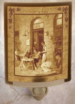 Paris Cafe Porcelain Lithophane Night Light -- Flat