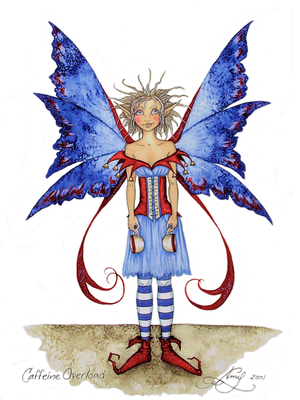 Amy Brown Caffeine Overload Fairy Coffee Greeting Card