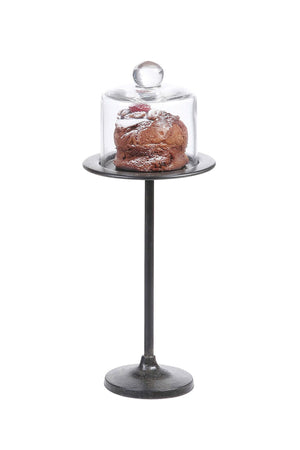 Tall Metal Bakery Cupcake Stand with Glass Cloche