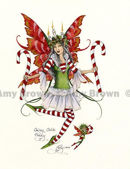 Amy Brown Candy Cane Fairy Faery Print