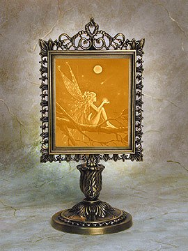 David Delamare Porcelain Lithophane Catch a Falling Star Fairy Victorian Style Lamp