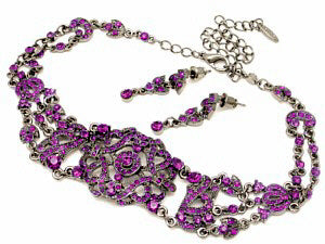 Victorian Choker Necklace + Earring Set with Amethyst Austrian Crystals
