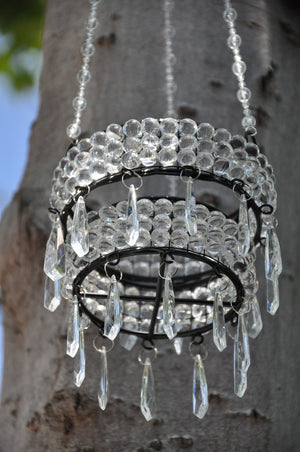 Hanging Beaded Candle Holder + Acrylic Bead Drop Crystals in Assorted Colors