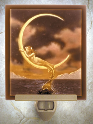 Colored David Delamare Mermaid &  Moon Porcelain Lithophane Night Light -- Flat