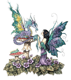 Amy Brown Companions Dragon Fairy Postcard