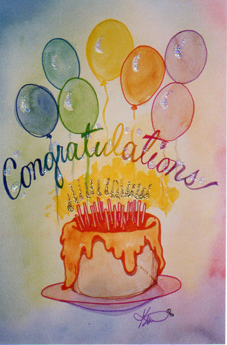 Karen Bagnard Congratulations Birthday Cake Greeting Card