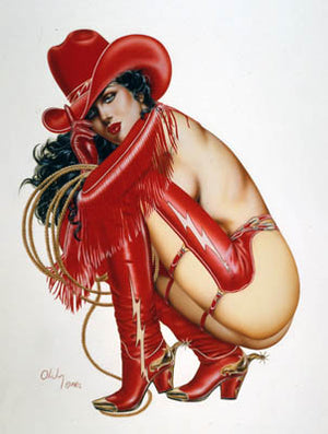 Cowgirl Sexy Pin Up Model Note Card by Olivia De Berardinis