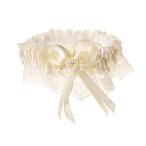 Victoria Lynn Cream Garter Belt with Acrylic Pearl Heart