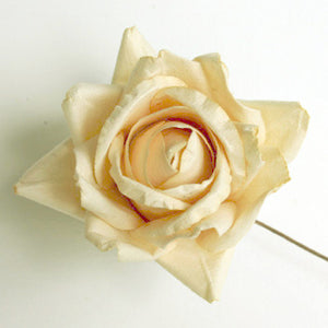 5 Cream Bendable Handmade Parchment Paper Long Wired Stemmed Roses
