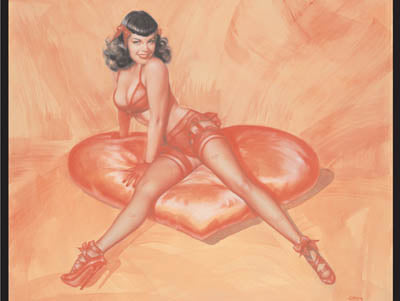 Crimson Heart Pin Up Model Note Card by Olivia De Berardinis