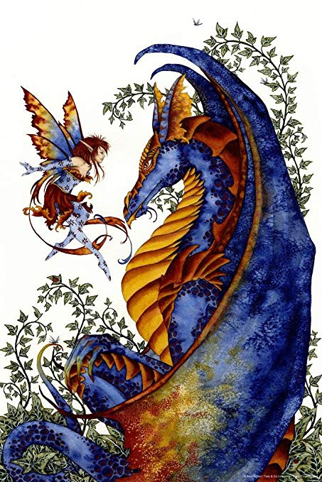 Amy Brown Curiosity Fairy Dragon Greeting Card