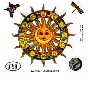 Dan Morris Celestial Astrology Signs, Dragonfly, Sun and Moon, Yin Yang Stickers --RJ265