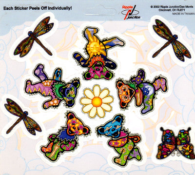 Dan Morris Grateful Dead Dancing Bear Circle + Dragonflies Stickers -- RJ271