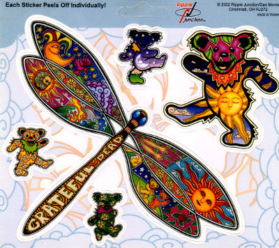 Dan Morris Grateful Dead Dancing Bears + Dragonfly Stickers -- RJ272