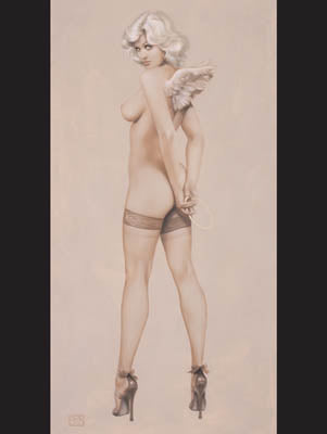 Devil in High Heels Pin Up Model Note Card by Olivia De Berardinis